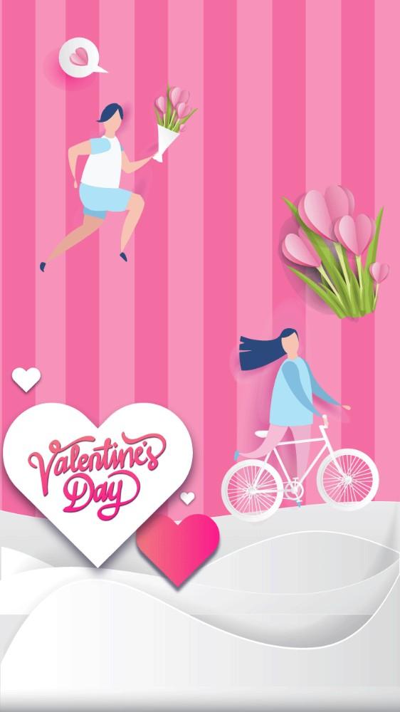 爱心单车情侣鲜花情人节快乐表白祝福贺卡