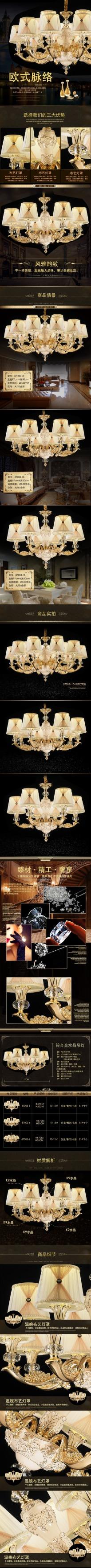 欧式奢华优雅LED水晶灯电商详情图