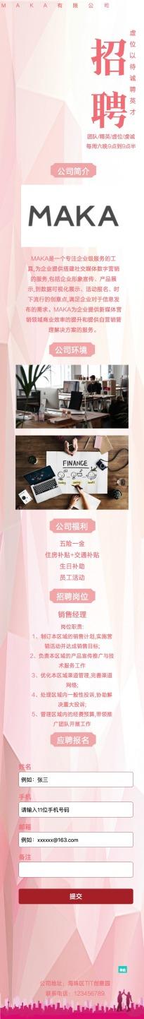 扁平简约粉色互联网企业招聘介绍推广单页