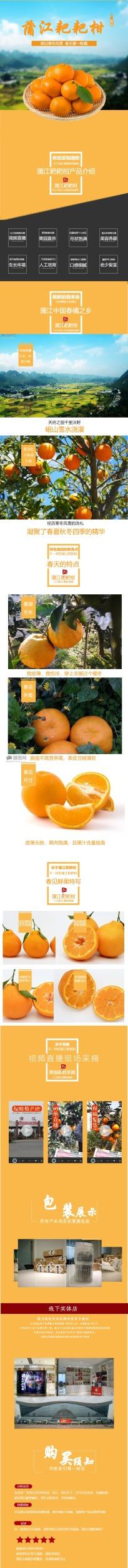 清新自然百货零售生鲜水果耙耙柑橙子促销电商详情页