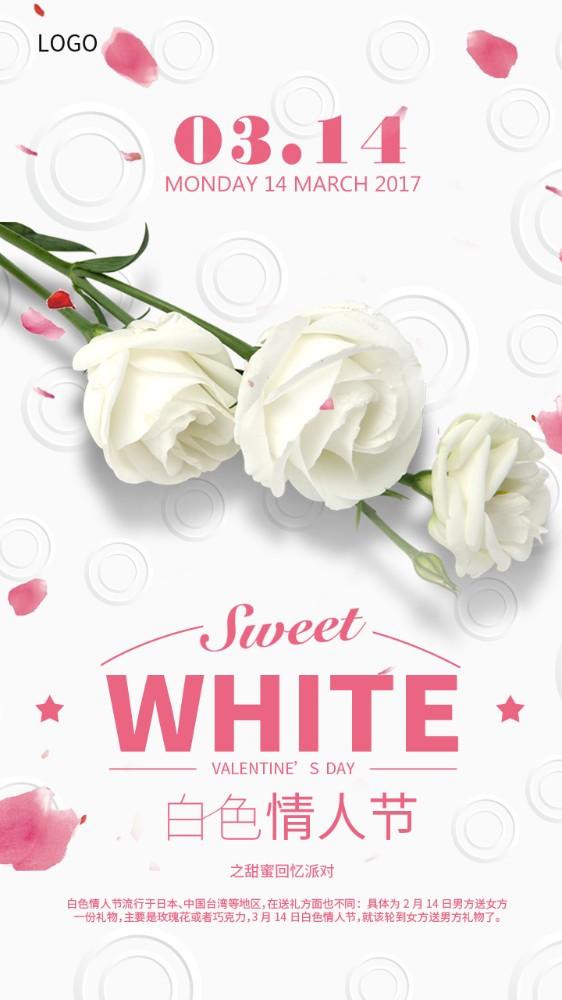 简约浪漫白色情人节海报