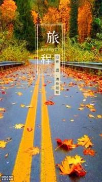 红色秋叶唯美旅行日记海报