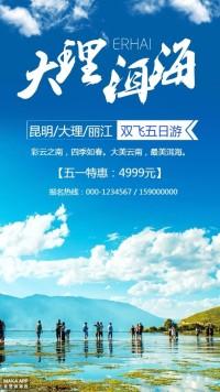 清新时尚云南大理洱海旅游促销海报