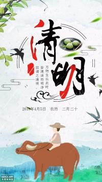 中国风手绘二十四节气清明节海报模板
