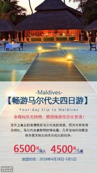 畅游马尔代夫旅游促销海报