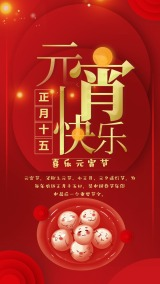 元宵节通用2019扁平风正月十五春节海报