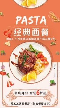 经典西餐厅开业牛扒促销海报