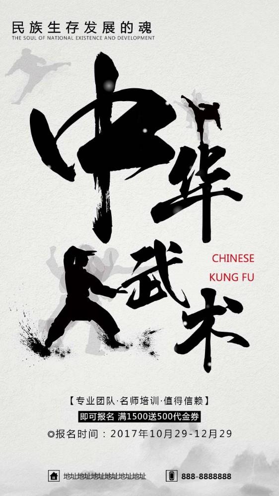 简约大气中国风中华武术招生宣传海报