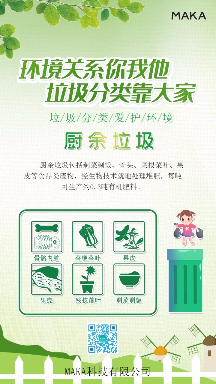 绿色清新垃圾分类宣传四件套手机海报模板