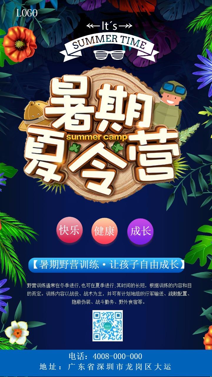 蓝色大气创意暑期夏令营招生手机海报