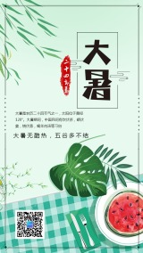 绿色简约文艺大暑节气日签手机海报