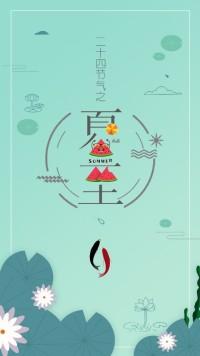 清新简约扁平化卡通二十四节气之夏至快乐节日宣传视频