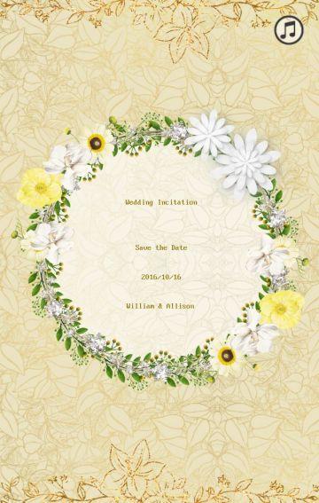 黄色蕾丝花朵韩式简约浪漫礼邀请函