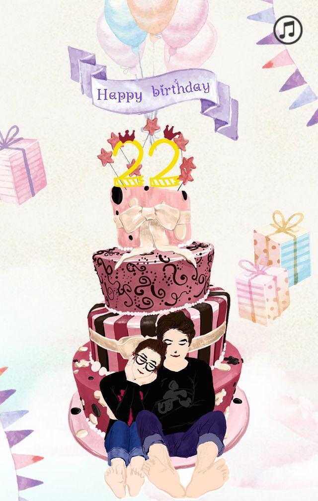水彩文艺小清新 祝你生日快乐