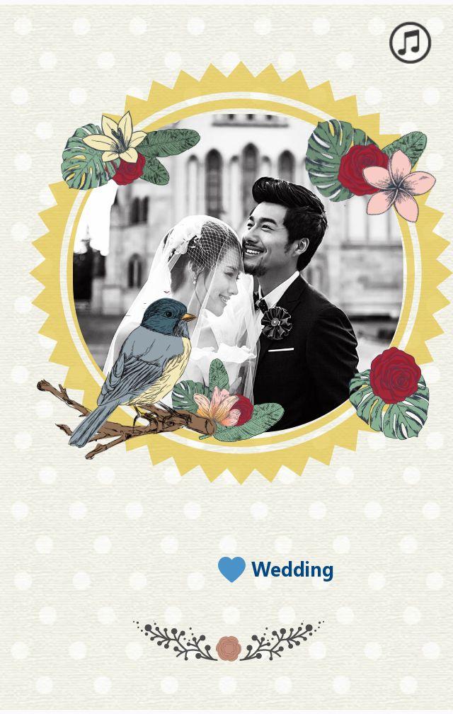 复古花鸟婚礼邀请