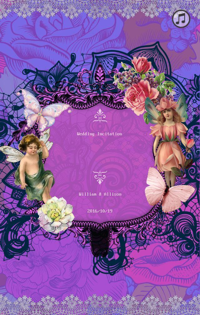 紫色个性复古浪漫礼邀请函