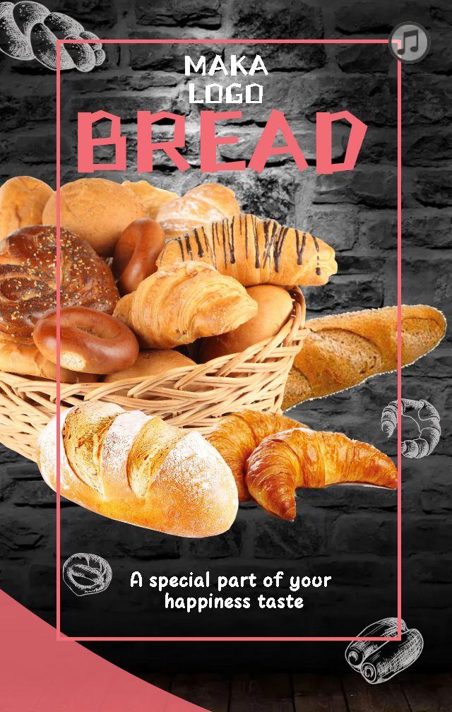 手绘面包店、庆典、促销模板