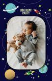 宇宙星球宝宝生日邀请 百日宴 满月邀请函