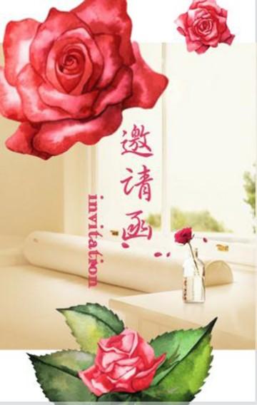 绽放的花朵系列高端唯美邀请函,适用于各种邀请场合