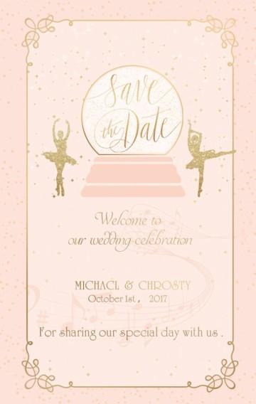 粉金色八音盒音乐盒芭蕾少女五线谱乐谱婚礼请柬邀请函