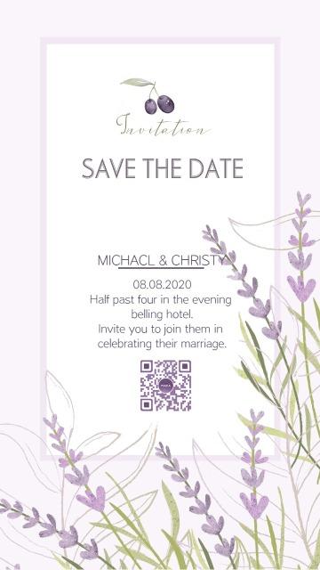 灰紫色马卡龙紫色薰衣草紫绿色婚礼请柬