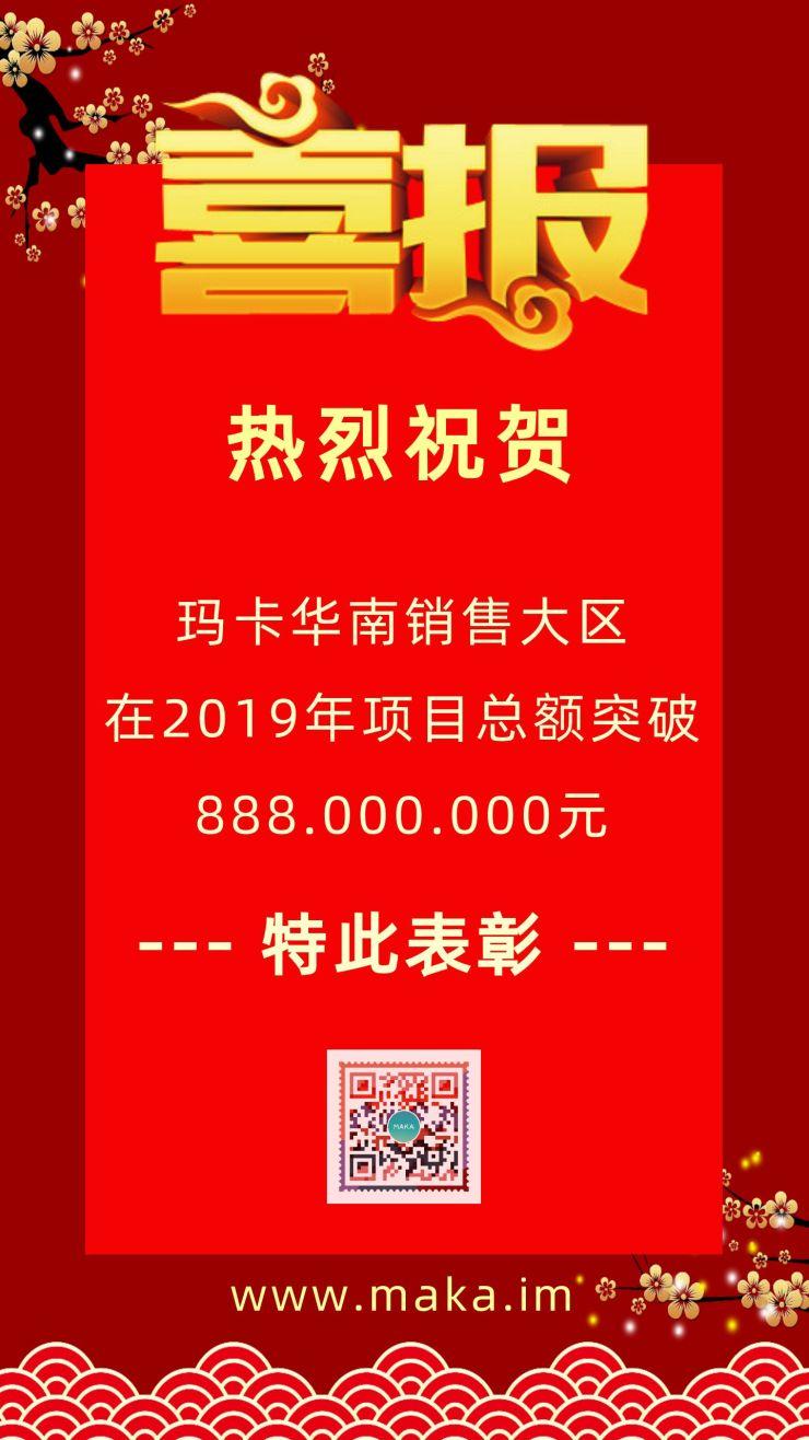 红色喜报喜讯高考贺报中国风学校部门公司企业文化宣传优秀团队人物事迹表彰通用海报