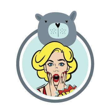 灰蓝色动物小熊可爱卡通插画风个性头像社交朋友圈封面