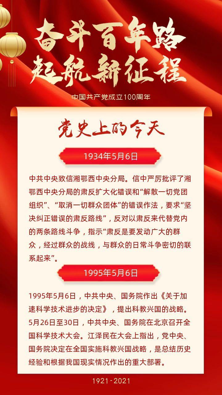 红色奋斗百年路起航新征程党史上的今天科普海报