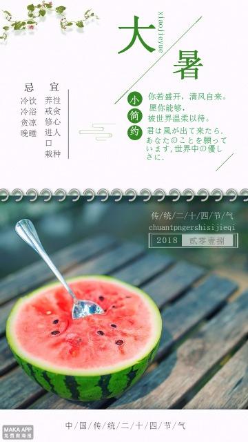 中国二十四节气之大暑宣传海报