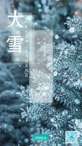 蓝色二十四节气大雪唯美节气宣传习俗介绍海报