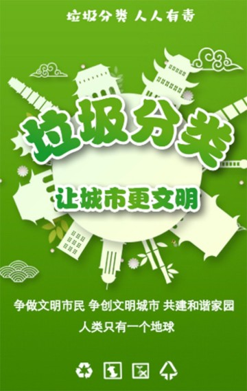 绿色环保垃圾分类保护环境科普宣传指导手册H5