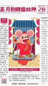 国潮风报纸鼠年过年习俗系列海报大年初四接灶神海报