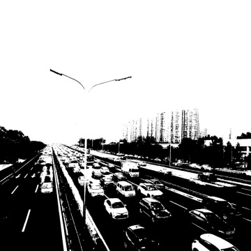 城市文艺怀旧黑白车水马龙朋友圈背景图