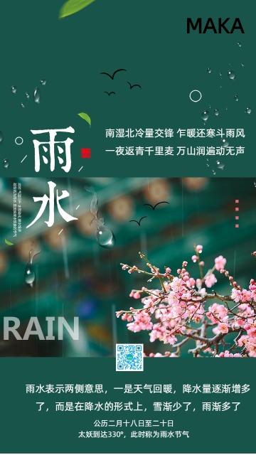 简约二十四节气传统节日雨水海报