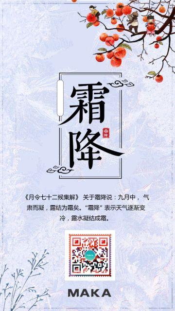 中国风霜花霜降宣传海报