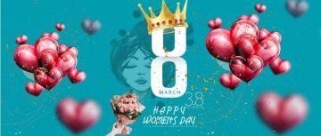 三八妇女节女神节宣传庆祝节日日签气球节日气氛海报公众号首图