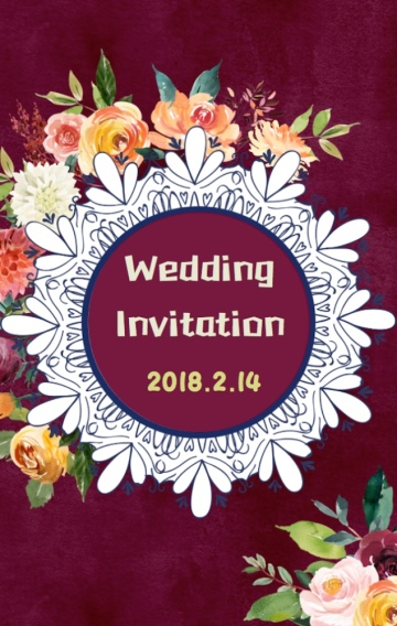 红丝绒手绘花朵高品质婚礼邀请函