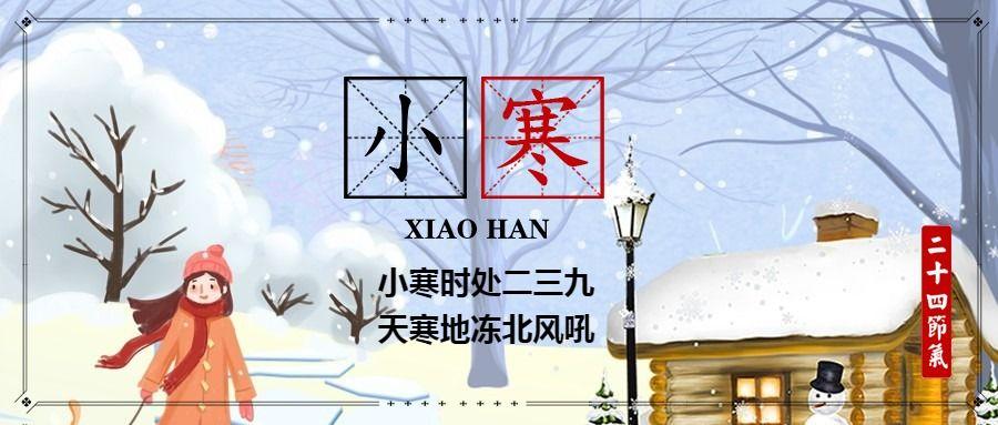 简约文艺传统二十四节气小寒微信公众号大图