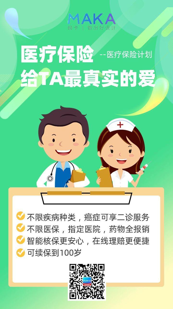 618扁平卡通风医疗保险宣传手机海报