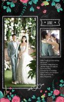 黑板手绘花朵婚礼邀请函 电子纪念册 旅行册 H5情人节告白相册
