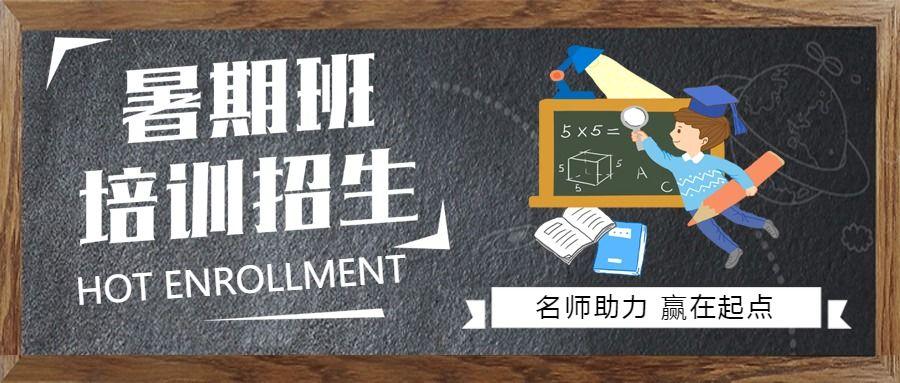 暑假班暑期班招生培训宣传简约文艺公众号封面首图