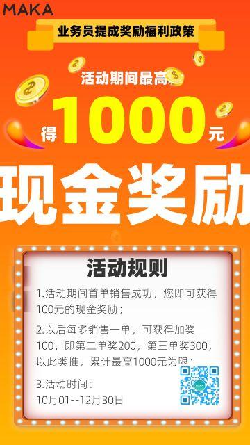 金融行业红色大气业务员销售奖励政策宣导海报