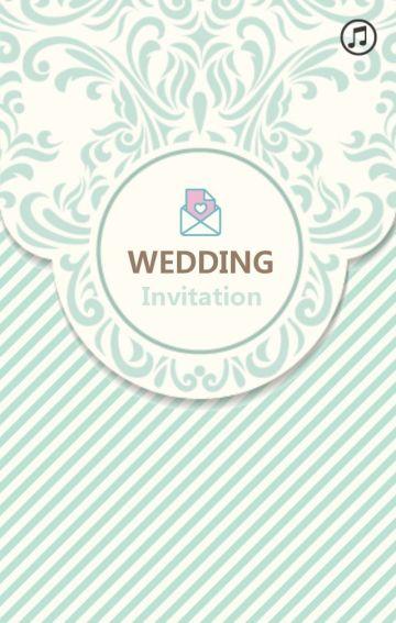 时尚精致图标风格婚礼邀请函