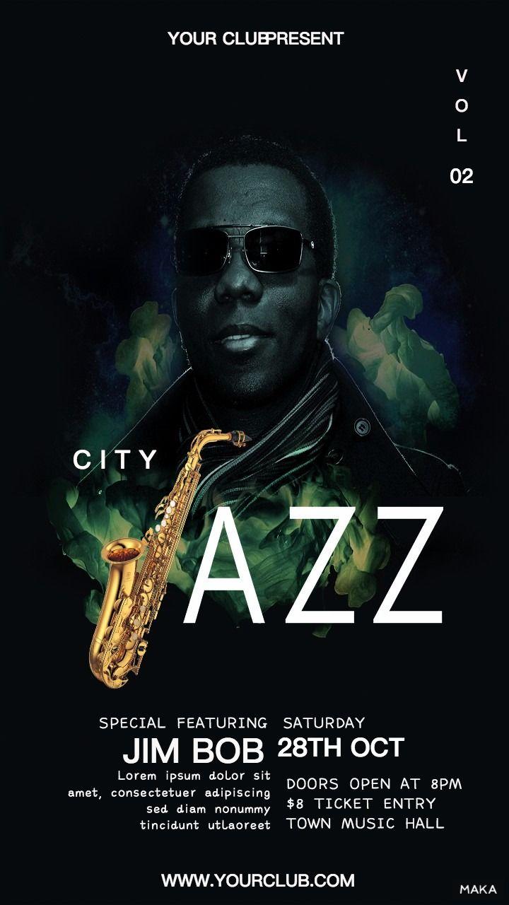 JAZZ爵士音乐会派对音乐节活动宣传海报
