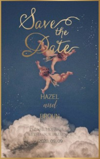 丘比特古典复古油画唯美爱情婚礼电子邀请函H5模板