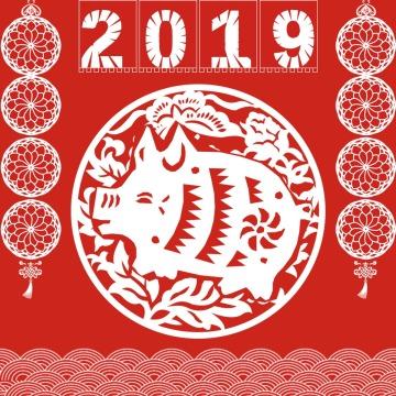 中国风红色新年大吉海报