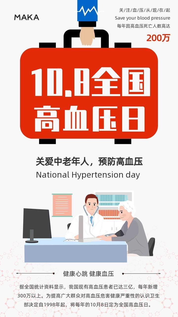 白色清新全国高血压日宣传公益海报