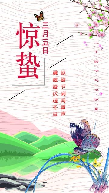 惊蛰二十四节气简约风节日宣传海报