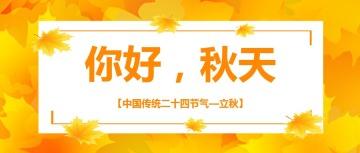 黄色你好秋天文艺清新立秋节气宣传公众号封面