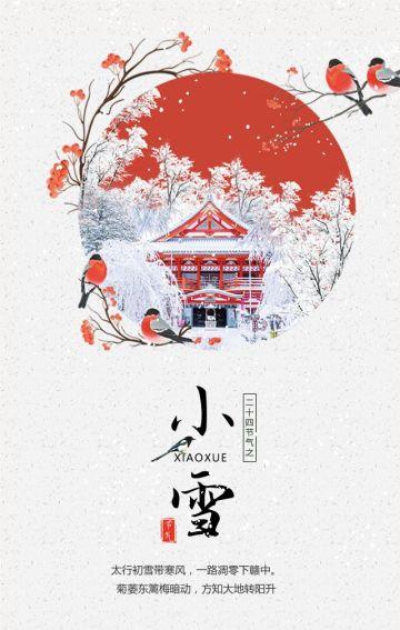 中国传统二十四节气之小雪日签促销民俗养生推广中医馆宣传推广